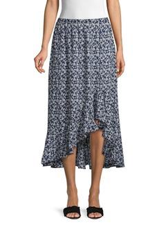 Max Studio Ruffle High-Low Floral Midi Skirt