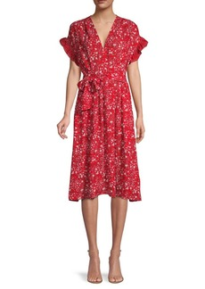Max Studio Ruffle-Sleeve Floral Dress