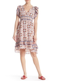 Max Studio Ruffle Sleeve Print Smocked Waist Dress