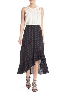 Max Studio Ruffle Trim Print High/Low Skirt