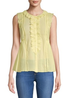 Ruffle-Trimmed Cotton Top