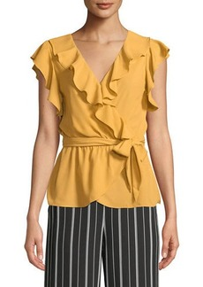 Max Studio Ruffled Faux-Wrap Blouse