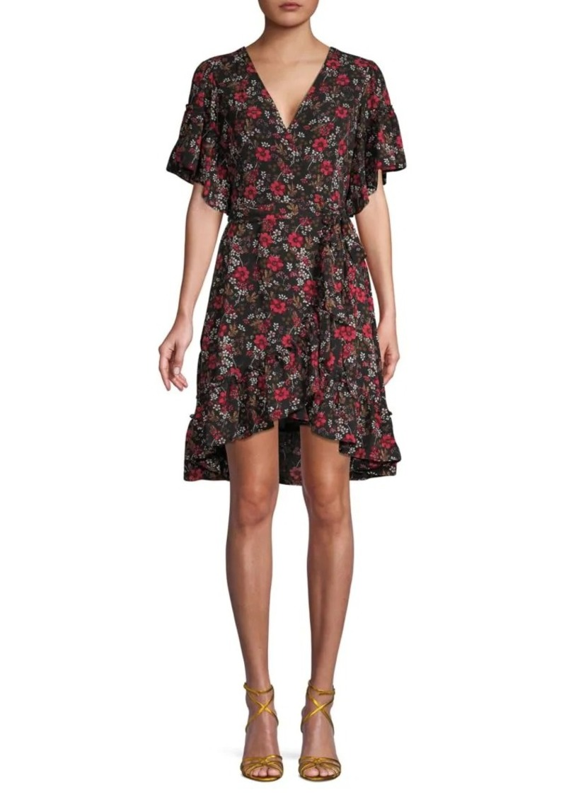 Max Studio Ruffled Floral Wrap Dress