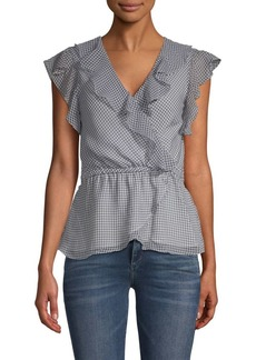 Max Studio Ruffled Gingham Wrap Top