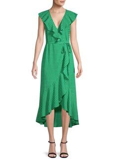 Max Studio Ruffled Printed Wrap Dress