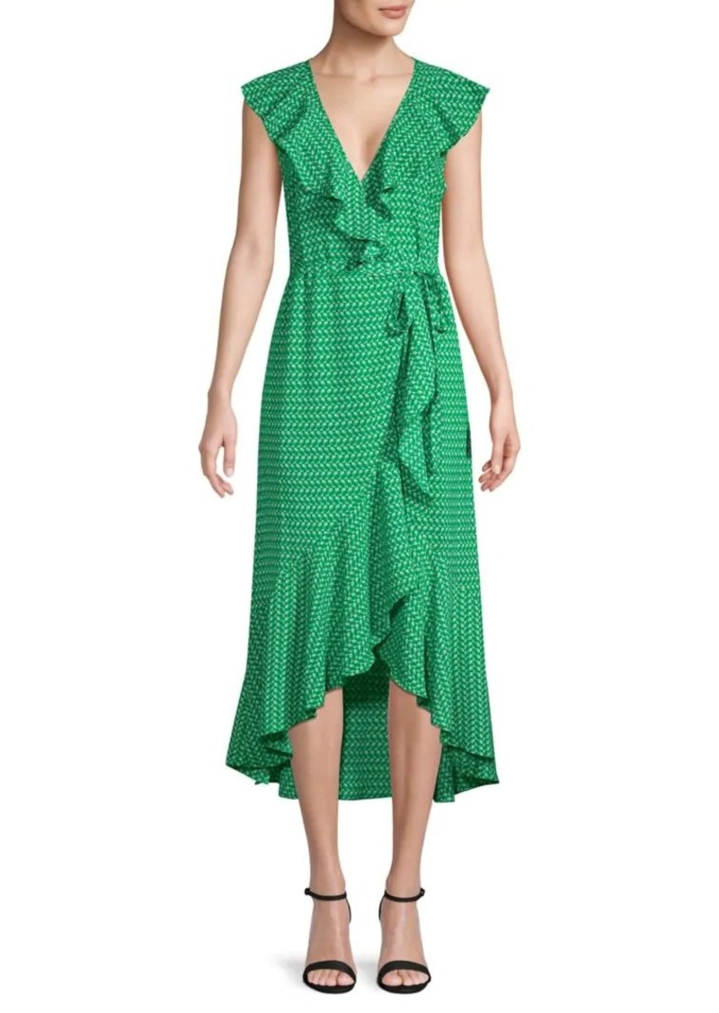 Max Studio Ruffled Printed Wrap Dress