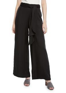 Max Studio Self-Tie Wide-Leg High-Waist Pants