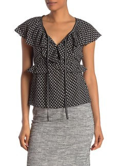 Max Studio Short Sleeve Ruffle Tie Closure Top