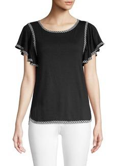 Max Studio Short-Sleeve Ruffled Top