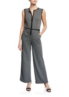 Max Studio Sleeveless Half-Zip Belted Jumper
