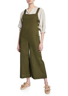 Max Studio Sleeveless Linen-Blend Wide-Leg Jumpsuit