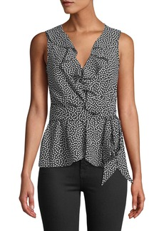 Max Studio Sleeveless Polka-Dot Ruffled Wrap Blouse