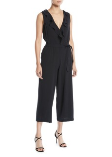 Max Studio Sleeveless Ruffle-Trim Belted Crepe Cropped Jumpsuit