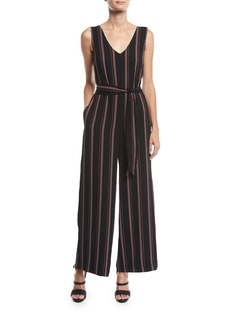 Max Studio Sleeveless Striped Belted Jumpsuit