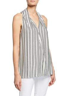 Max Studio Sleeveless Striped V-Neck Top