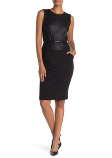Max Studio Sleeveless Waist Belt Sheath Dress