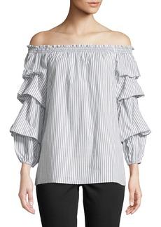 Smocked Off-The-Shoulder Striped Blouse