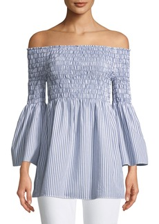Max Studio Smocked Off-The-Shoulder Striped Poplin Blouse