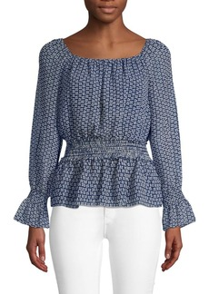 Max Studio Smocked Poet-Sleeve Top