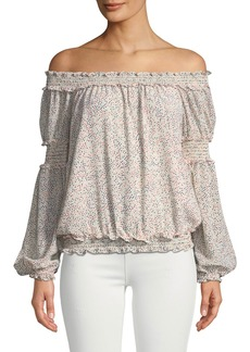 Max Studio Smocked Polka-Dot Off-the-Shoulder Blouse
