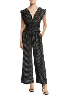 Max Studio Smocked Waist Polka-Dot Wide-Leg Jumpsuit