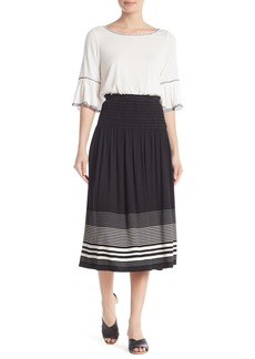 Max Studio Smocked Waist Stripe Skirt