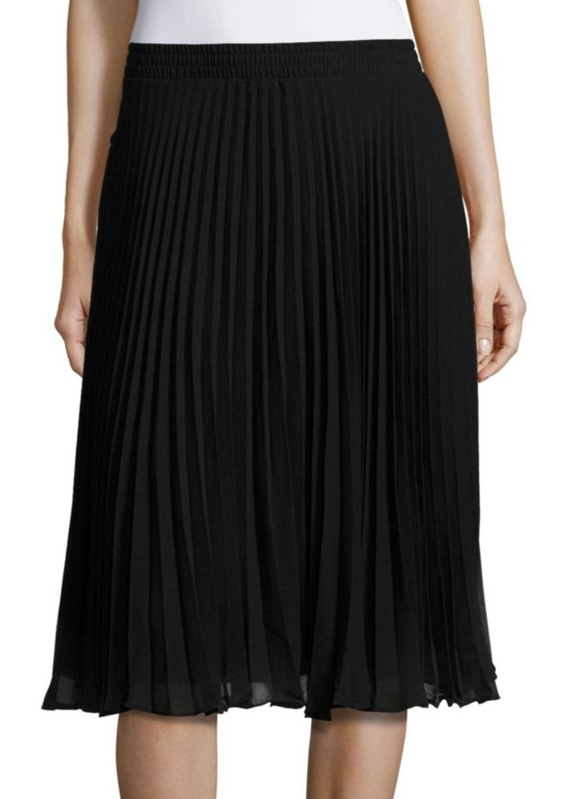 Max Studio Solid Pleated Skirt