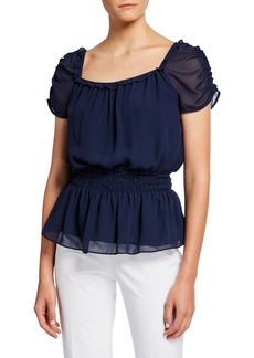 Max Studio Square-Neck Puff-Sleeve Smocked-Waist Peplum Top