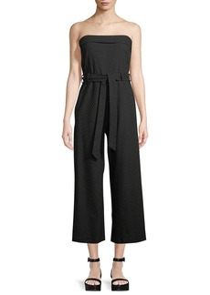 Max Studio Strapless Jacquard Belted Cropped Jumpsuit