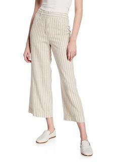 Max Studio Stripe Cropped Linen Trousers