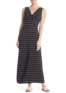 Max Studio Stripe Front Knot Sleeveless Maxi Dress