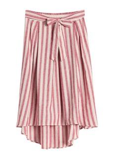 Max Studio Stripe Print Tie Front Skirt
