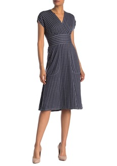 Max Studio Stripe Surplice Neck Dress