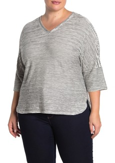 Max Studio Stripe Textured Knit V-Neck Shirt (Plus Size)