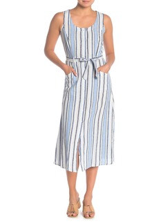 Max Studio Striped Button Up Linen Blend Midi Dress