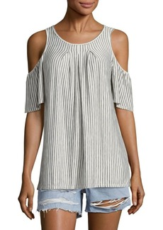 Max Studio Striped Cold-Shoulder Top