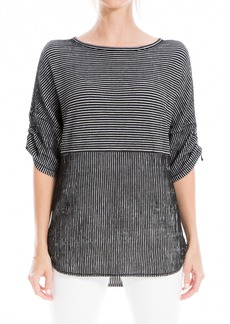 Max Studio Striped Ruched Elbow Sleeve Textured Top