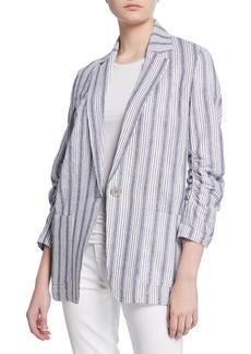 Max Studio Striped Ruched-Sleeve Linen Blazer