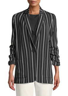 Max Studio Striped Ruched-Sleeve Single-Button Jacket