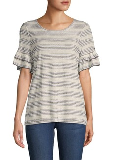 Max Studio Striped Short-Sleeve Top