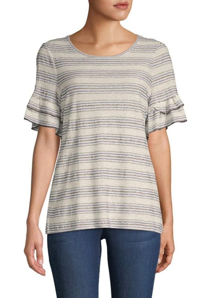 Max Studio Striped Short-Sleeve Top