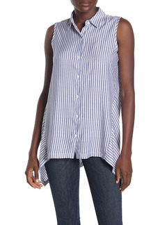 Max Studio Striped Sleeveless High/Low Shirt