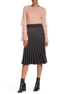 Max Studio Striped Sweater Knit Midi Skirt