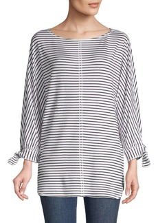 Max Studio Striped Three-Quarter Top