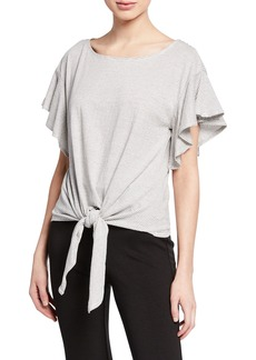Max Studio Striped Tie-Front Knit Top
