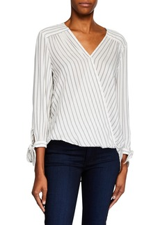 Max Studio Striped Tie-Sleeve High-Low Shirting