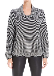 Max Studio Striped Twisted Cowl Neck Long Sleeve Top