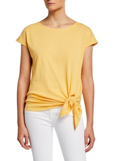 Max Studio Textured Cap-Sleeve Side-Tie Knit Top