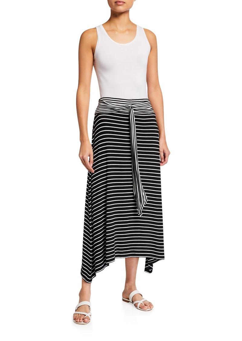 Max Studio Tie-Front Striped Maxi Skirt