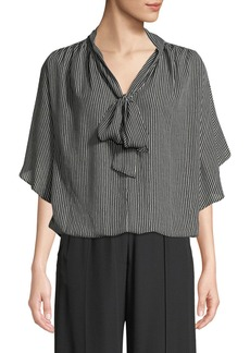 Max Studio Tie-Neck Dot-Striped Cape-Sleeve Blouse